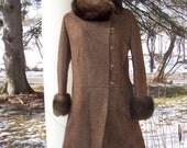 Vintage Mink Collar wool coat small