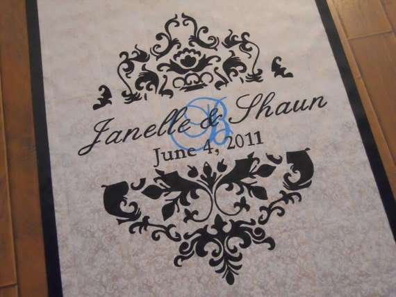 Custom Hand Painted Aisle Runner, DELUXE Monogram Design Package (Proceeds benefit Charity)