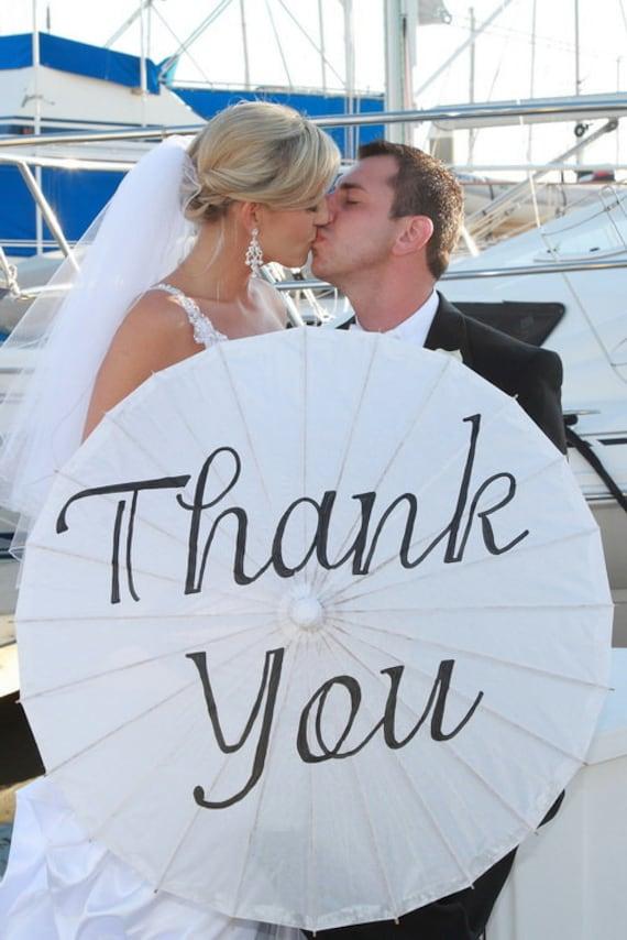 Custom Hand Painted Wedding Parasol, Thank You, Mr. & Mrs.