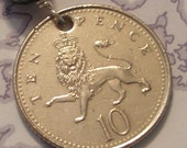 SPRING SALE - - King of the Beasts -- authentic Royal British Ten Pence pendant - For the Guys - Great Britain - Europe