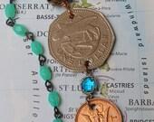 Barbados, Vintage Coin Necklace - - Fresh Seafood - - flying fish sandwich - island - Caribbean - Ocean