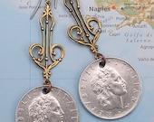 Italy, Vintage Coin Earrings - - Repvbblica Italiana - - International Travel - Italy - Rome - Europe - Mediterranean