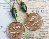 South Africa, Vintage Coin Earrings - - Who Gnu - - Wildebeest - Wildlife - African Safari - World Traveller - WorldTreasure