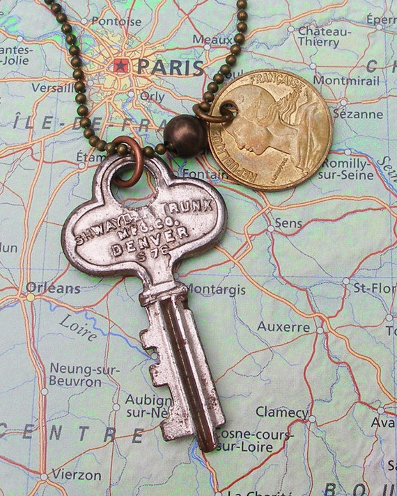 France, Authentic Coin Necklace - - Be a Traveler - - Paris - City of Lights - Steamer Trunk Key - International Travel