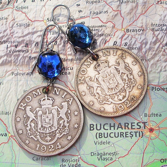 Romania, Vintage Coin Earrings - - Kingdom of Romania - - Tradition - 1924 - Eagle - History - World Travel - Europe