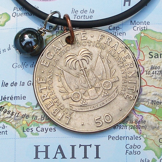 Haiti, Vintage Coin Necklace - - Big Guns for Independence - - Memorial Day - Cannons - Artillery - Revolution - Navy - Caribbean Sea
