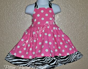 Boutique girls Halter twirl dress pink and white Dots with zebra 3 month to size 7