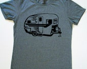 Womens Camper Trailer T-Shirt in Heather Gray-Available in S, M, L, XL, XXL
