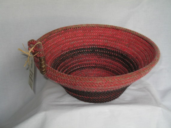 Handmade Rope Basket : Items similar to upcycled handmade lasso rope basket with