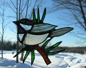 chick-a-dee pine nedles, stained glass suncatcher