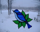 mountain bluebird and leaves, stained glass suncatcher