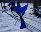 3-D blue jay, stained glass suncatcher