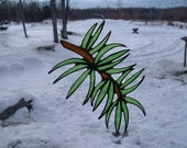 pine branch stained glass suncatcher