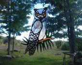 great horned owl, stained glass suncatcher