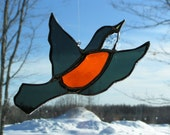 Robin stained glass suncatcher