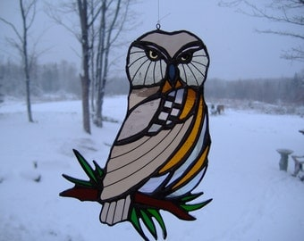 northern saw-wheat owl, stained glass suncatcher