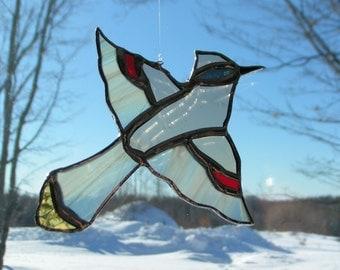 cedar wax-wing, stained glass suncatcher