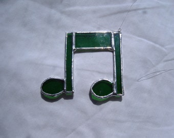 double note stained glass suncatcher