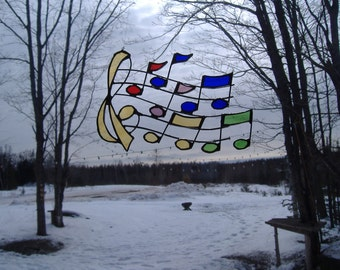 muscial bars stained glass suncatcher