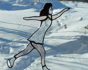 ice skater stained glass suncatcher