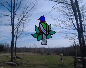 Painted Bunting/leaves stained glass suncatcher