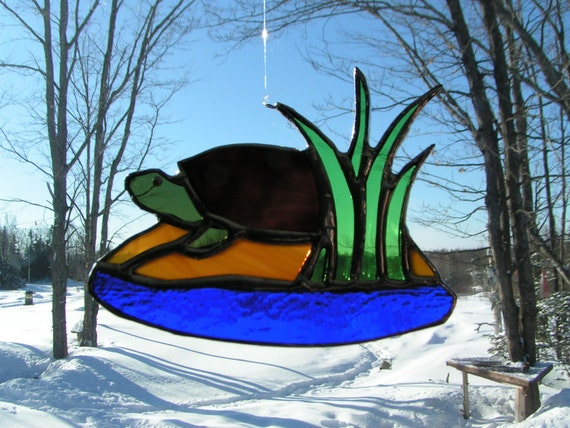 turtle, stained glass suncatcher