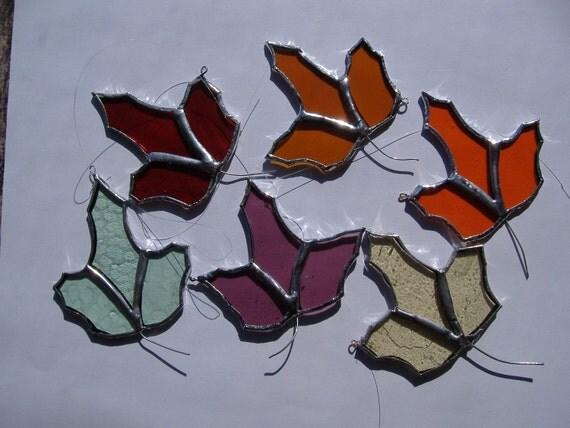 oak leaves assortment, stained glass suncatchers