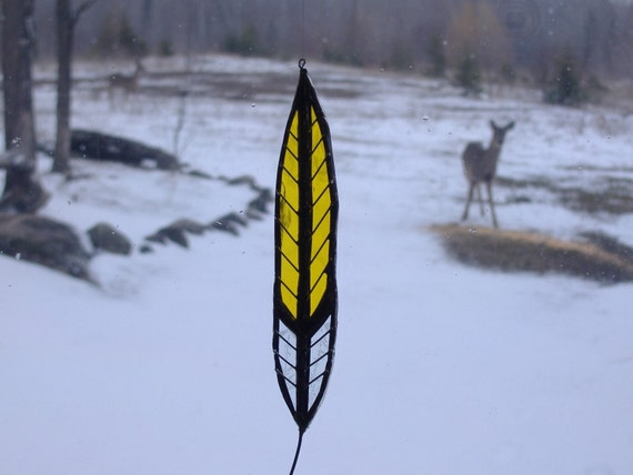 Bicolored feather stained glass suncatcher