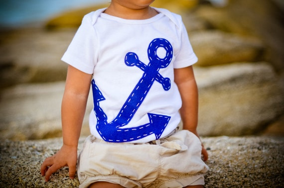 Baby Boy Clothes Navy Blue Anchor Onesie Natuical Baby Gift