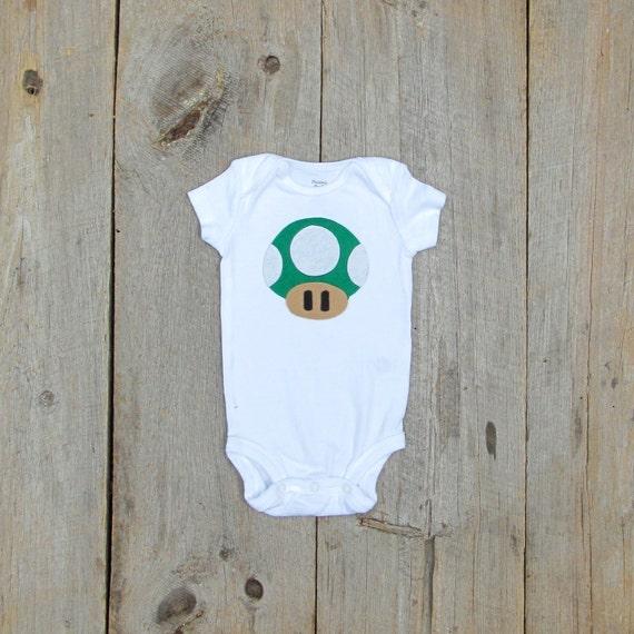 Giant Super Mario Brothers Mushroom / 1 Up Baby Shirt
