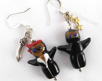 Pirate vs Ninja Earrings