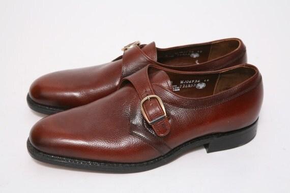 1960s Regal Reddish Brown Mens Buckle Dress Shoe US 9 - 9.5