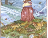 Spring on the Leaf Mound - Giclée print from the book The Purple Ribbon