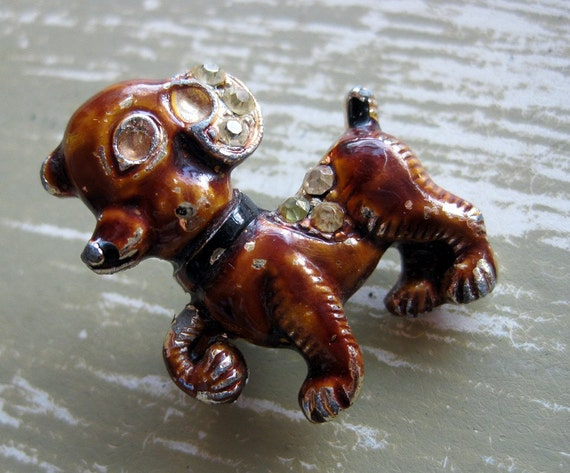 Puppy Brooch - Enamel and Rhinestone - 1950s - Adorable