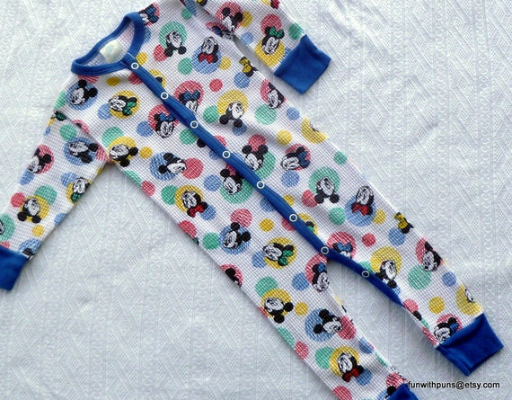 Mickey Minnie Romper - Snap Front - 1980s - Thermal- 19-26 LBS- reserved