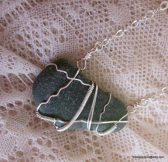Sterling Wrapped Scottish Sea Glass Necklace - Deep Moss Green - Unusual