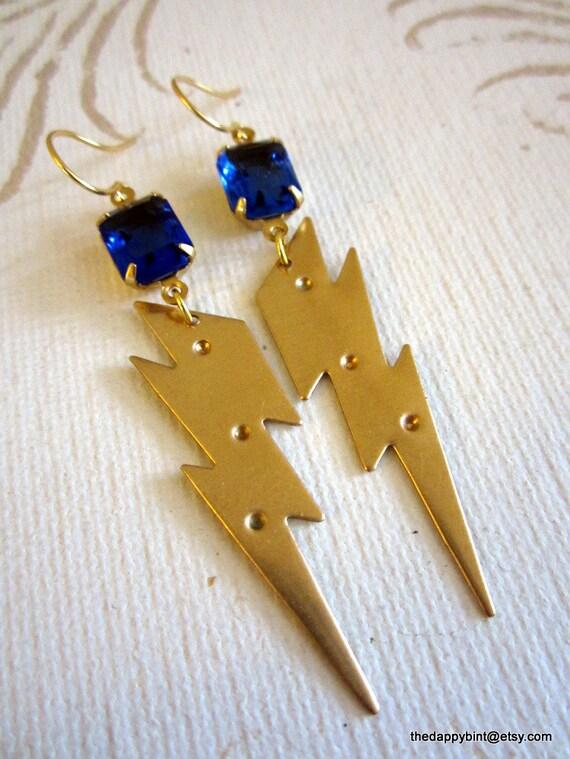Blue Lightning Drops - Bright Blue Vintage Glass Gems - Sealed Brass Bolts - FREE SHIP