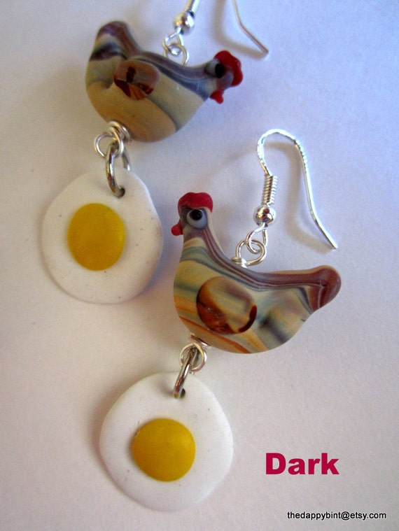 Chicken and Egg Earrings - Kitschy Campy Fun- One Pair Only - Sterling Hooks