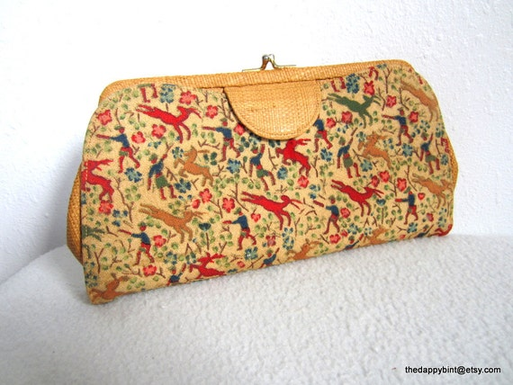 Tiny Deer Vintage La France Elaborate Clutch - Original Mirror - Adorable - Ingenious Design