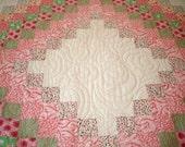 "Handmade Colorwash Irish Chain Quilt 66"" x 84"" pink green reproduction fabrics"