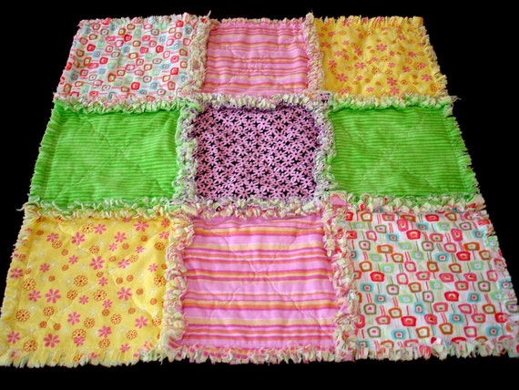 Whimsical Nine Patch Rag Quilt Security Blanket ready to ship