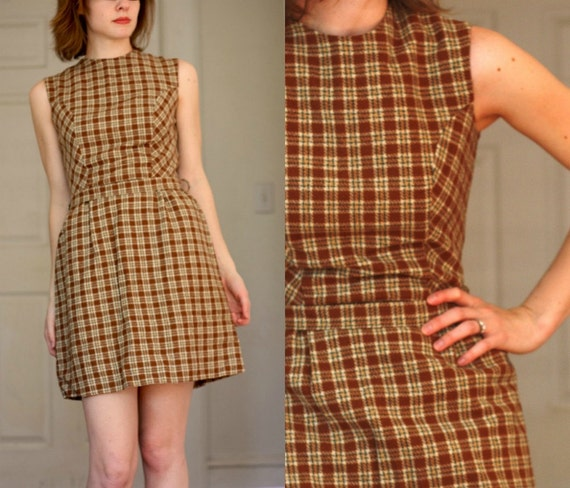 Vintage Dress Short Brown Plaid Small