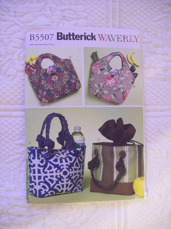 5507 Butterick Pattern  Waverly Shopping and Lunch Bags