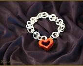 Open Heart Charm on Chain Bracelet - Romantic Gift - Silver Colored Bracelet