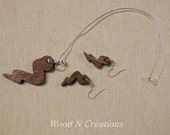 Necklace and Earrings Set - Brown Colors - Lightning Bolt