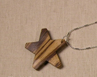 Star Shaped Pendant Necklace - Wooden Jewelry - Gift Idea