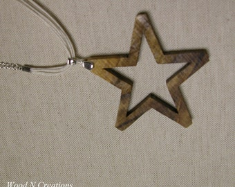 Open Star Shaped Pendant Necklace - Wooden Star Jewelry
