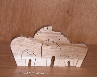 Zebra Family - Home or Office Decor -  Animal Theme - Wooden Zebras
