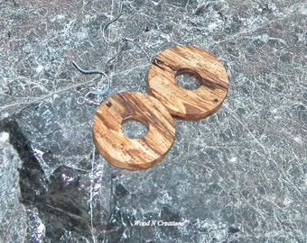 Round Shape Earrings - Wooden - Lightweight  -  Casual Jewelry - Dangle Earrings