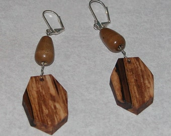 Earrings - Dangle - Wood  Earrings with Seven Sides and One Bead